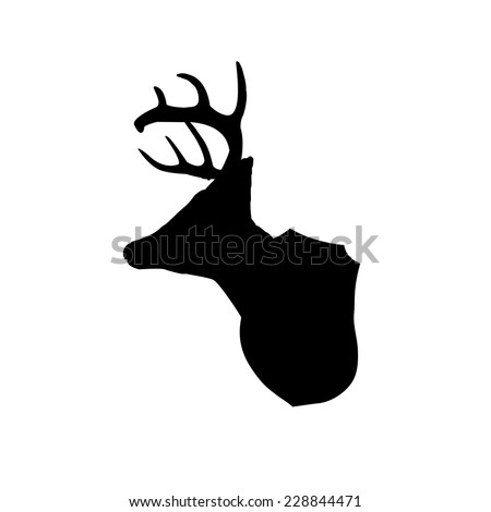 Mounted deer head silhouette clip art - stock vector