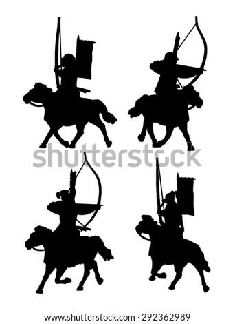 Mounted samurai archers silhouette set - stock vector