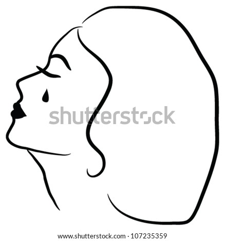 Mourning cry woman - stock vector
