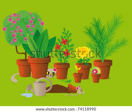 mouse and cat - stock vector