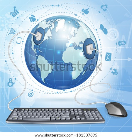 Mouse and Keyboard Connected to Earth with Internet Icons, vector illustration on abstract background - stock vector