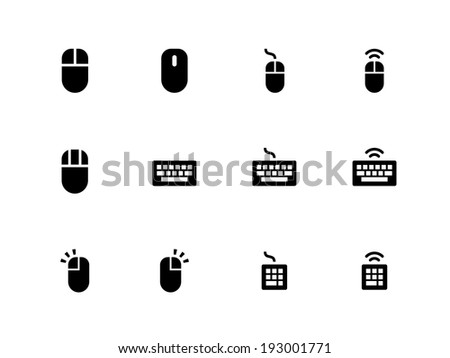Mouse and Keyboard icons on white background. Vector illustration. - stock vector