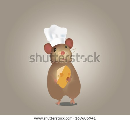 Mouse Chef with Hat and Cheese. Illustration of a Mouse Cooker - stock vector