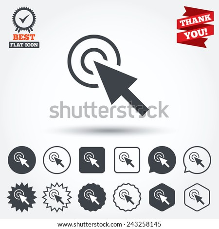 Mouse cursor sign icon. Pointer symbol. Circle, star, speech bubble and square buttons. Award medal with check mark. Thank you ribbon. Vector - stock vector