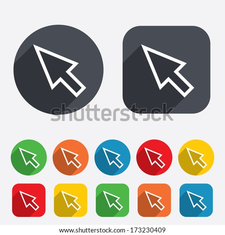 Mouse cursor sign icon. Pointer symbol. Circles and rounded squares 12 buttons. Vector - stock vector