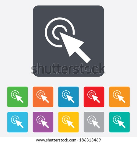 Mouse cursor sign icon. Pointer symbol. Rounded squares 11 buttons. Vector - stock vector