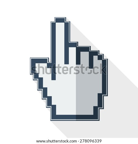 Mouse cursor with long shadow on white background