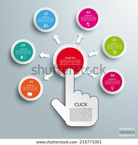 Mouse hand and 6 buttons on the grey background. Eps 10 vector file. - stock vector