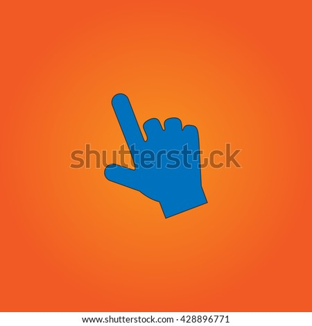 Mouse hand cursor. Blue flat icon with black stroke on orange background. Collection concept vector pictogram for infographic project and logo - stock vector