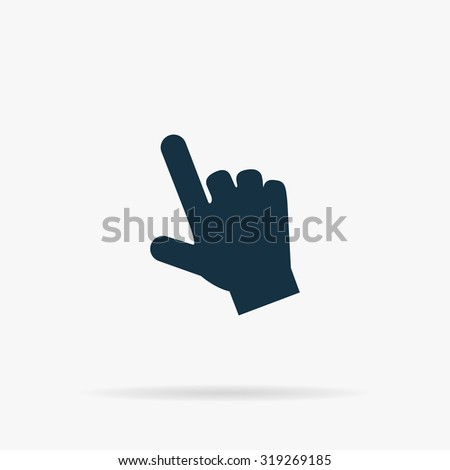 Mouse hand cursor. Flat vector web icon or sign on grey background with shadow. Collection modern trend concept design style illustration symbol - stock vector