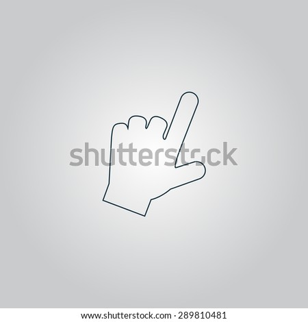 Mouse hand  cursor. Flat web icon or sign isolated on grey background. Collection modern trend concept design style vector illustration symbol - stock vector