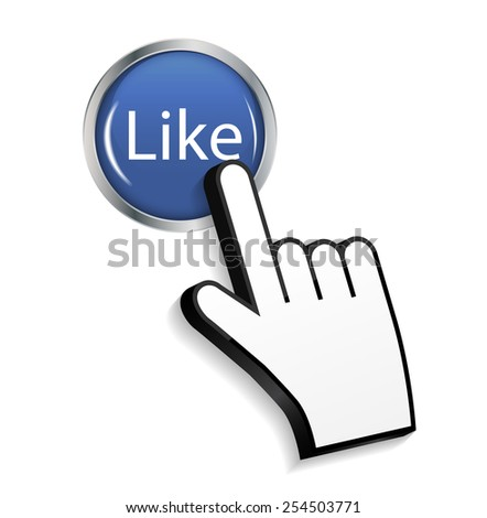 Mouse Hand Cursor on Circle Glossy Like Button Vector Illustration EPS10 - stock vector