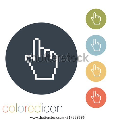 mouse hand cursor. pixel view - stock vector
