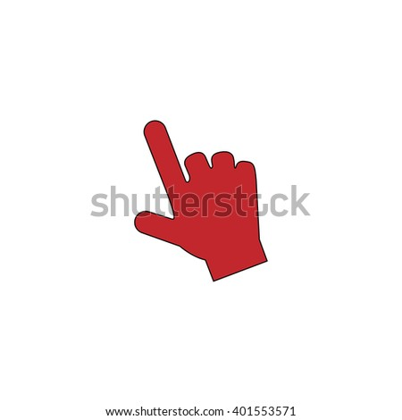 Mouse hand cursor. Red flat simple modern illustration icon with stroke. Collection concept vector pictogram for infographic project and logo - stock vector
