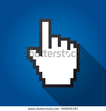 Mouse hand cursor vector illustration, cast shadow. Cyan background.