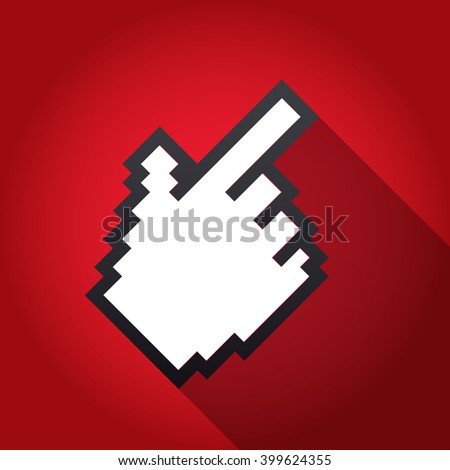 Mouse hand cursor vector illustration, cast shadow. Red background. - stock vector
