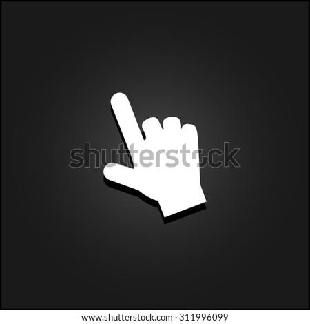 Mouse hand cursor. White flat simple vector icon with shadow on a black background - stock vector