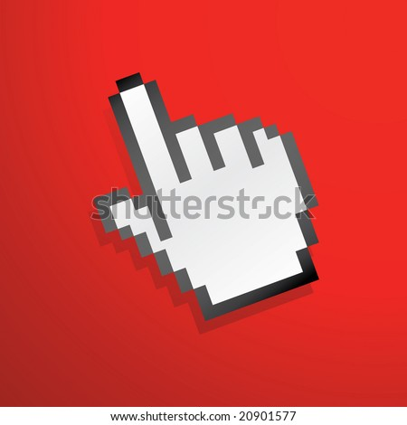 mouse hand icon red for wallpaper - stock vector