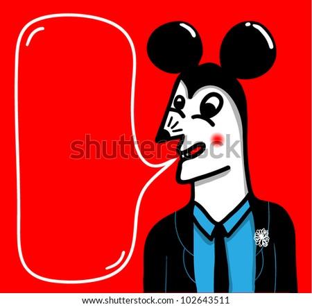 mouse head man - stock vector