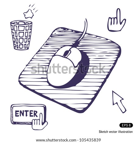 Mouse. Mouse pad. Cursors and buttons. Hand drawn sketch illustration isolated on white background - stock vector