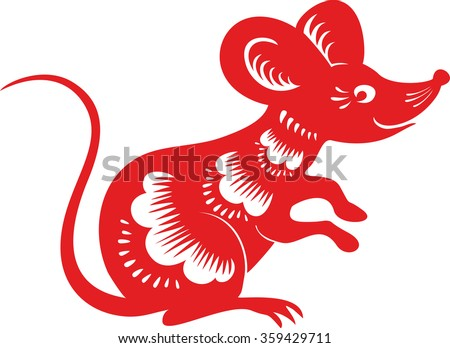 Mouse, rat. Chinese paper cut zodiac.