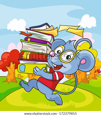 Mouse with books on a colored background, vector illustration - stock vector