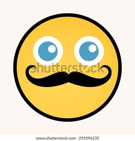 Moustache - Cartoon Smiley Vector Face - stock vector