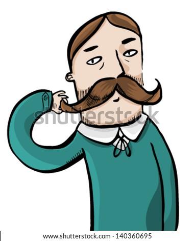 Moustache man - stock vector