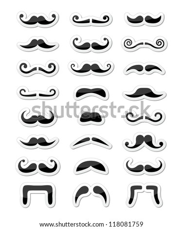 Moustache / mustache icons isolated set as labels - stock vector