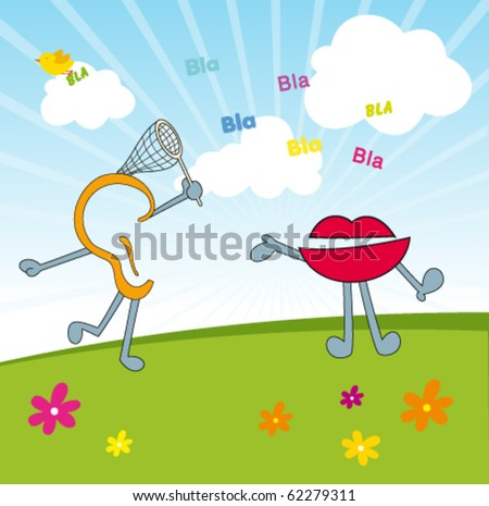 mouth and ear: Sensory communication - stock vector