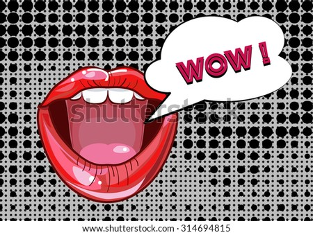 Mouth and speech bubble, Pop Art with grunge background - stock vector