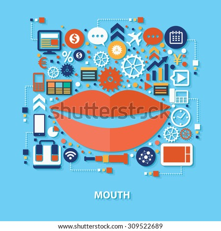 Mouth concept design on blue background,clean vector - stock vector