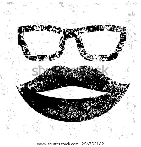 Mouth design on old paper,grunge vector