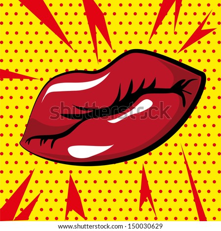 mouth design over dotted background vector illustration - stock vector