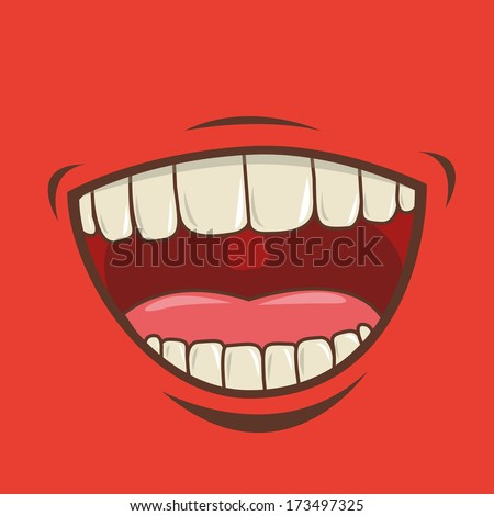 mouth design over red  background vector illustration - stock vector
