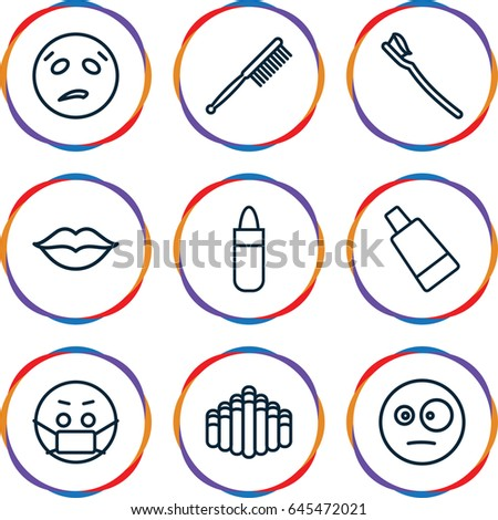 Mouth icons set. set of 9 mouth outline icons such as lipstick, cream tube, toothbrush, tooth brush, love, harmonica, surprised emot, sweating emot