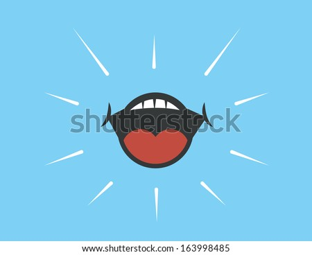 Mouth shouting with blue background  - stock vector