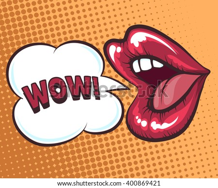 Mouth with speach bubble. Wow and female lips in pop art style concept for advertising or poster. Vector illustration - stock vector