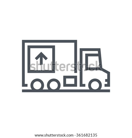 Move house, truck, real estate icon suitable for info graphics, websites and print media. Vector, flat icon, clip art. - stock vector