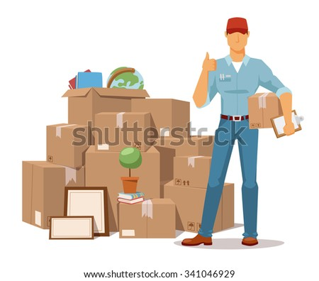 Move service man Ok hand and box vector illustration. Move box and men. Craft box isolated. Box for moving, open box. Move business, moving, relocation box open. Transportation package cargo service - stock vector