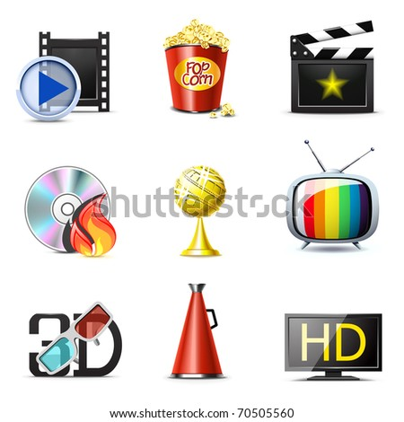 Movie and entertainment icons | Bella series, part 2 - stock vector