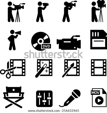 Movie and film production icon set. Vector icons for digital and print projects. - stock vector
