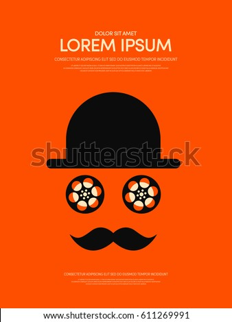 Movie and film retro vintage can be used for poster, background, brochure, leaflet, vector illustration