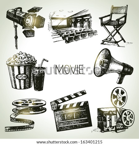 Movie and film set. Hand drawn vintage illustrations - stock vector