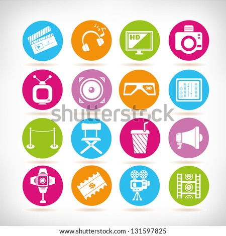 movie and media icon set, vector - stock vector