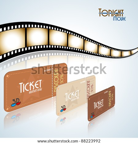 Movie background. Film strip and tickets. Vector illustration. - stock vector