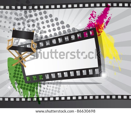 Movie background with filmstrip and director's chair, vector - stock vector