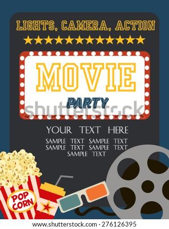 Movie Birthday party invitation - stock vector