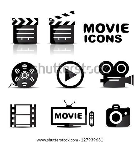Movie black glossy icon set. Vector illustration - stock vector