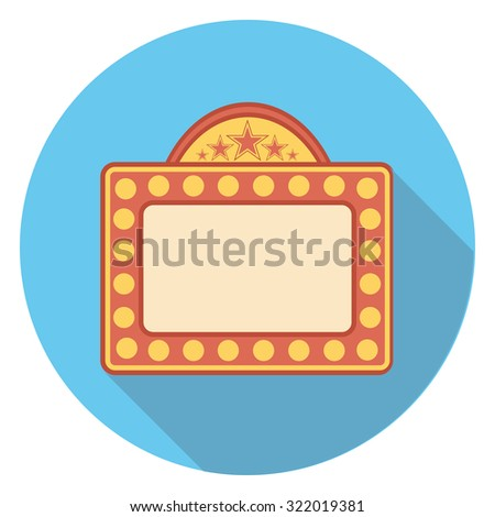 movie board flat icon in circle - stock vector